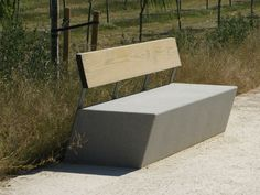 Contemporary public bench in wood and stone (with backrest) ZUERA by Iñaki Alday and Margarita Jover Escofet