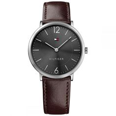 Tommy Hilfiger Slim Rose Gold Watch With Brown Leather Strap . Brown Leather Strap Watch, Dark Brown Leather, Gold Leather, Tommy Hilfiger, Gents Watches, Watches For Men, Slim Man, Watch Brands, Stainless Steel
