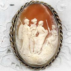 """Judgment of Paris"" -  Victorian Carved Shell Cameo Set In Braided Rope Frame"
