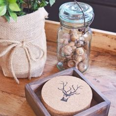 DIY Salvaged Junk Projects 405 Rustic Coasters, Cork Coasters, Fall Crafts, Holiday Crafts, Twine Wreath, Rustic Christmas, Christmas Ideas, Dollar Tree Decor, Coaster Design