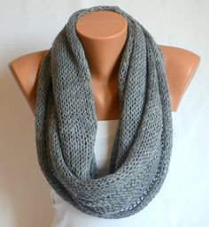 infinity scarf - hand knit  grey infinity scarf circle scarf winter cowl valentines day gifts birthday gifts ready for the shipment. $35.00, via Etsy.