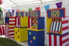 Carnival Party midway games including can toss and bottle toss. Carnival Party midway games including can toss and bottle toss. Carnival Party Games, Balloon Party Games, Carnival Party Decorations, Carnival Booths, Carnival Games For Kids, Fall Carnival, Circus Theme Party, Carnival Birthday Parties, Circus Birthday