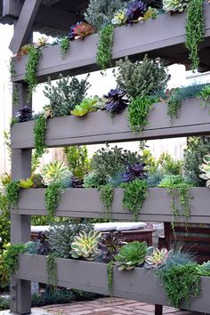 Vertical Gardens - Once you've designed your garden, pick the plants that you want to grow during each season. There's no better solution than to bring a vertical garden. While arranging a vertical garden… Vertical Pallet Garden, Vertical Garden Design, Vertical Planter, Vertical Gardens, Garden Landscape Design, Succulent Wall Planter, Garden Wall Designs, Planter Garden, Succulent Ideas