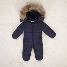5c7516eae35 Hooded Children winter jumpsuit fur baby winter romper kids winter overalls  warm boys snowsuit down baby jumpsuit long sleeve