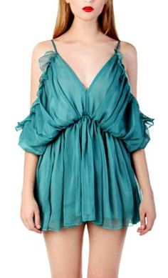 Choies Limited Edition Green Camis Pleated Romper Playsuit
