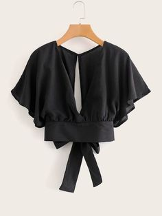 Tie Back Butterfly Sleeve Blouse Scarf Dress, Blouse And Skirt, Blouse Outfit, Blouse Styles, Blouse Designs, Sleeve Pattern, Blouse Online, Business Outfits, Fashion Sewing