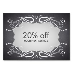 Chalkboard Swirl Coupon Card Voucher Discount Large Business Cards (Pack Of 100). I love this design! It is available for customization or ready to buy as is. All you need is to add your business info to this template then place the order. It will ship within 24 hours. Just click the image to make your own!