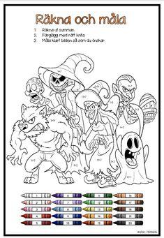 En räkna och måla (addition 1-20) och en siffermåla (1-20). Kid Experiments, Halloween Crafts For Kids, Snoopy, Teacher, Education, School, Fun, Fictional Characters, Halloween Pictures
