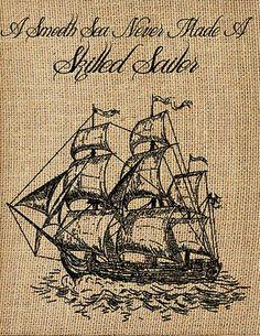 Ship 'Skilled Sailor' Framed Burlap Print