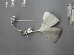 Ginko brooch in sterling silver by calcagninigioielli on Etsy, $158.00