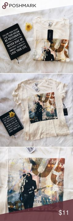F21 Cream Colored Music Graphic T-Shirt ▪️Product Description▪️ ▫️Cool, distressed music graphic t-shirt  ▫️Awesome with Vans and denim   ▫️Part of Forever 21's LA Collection  ▪️Fit: Classic t-shirt fit, true to size, slightly cropped   ▪️Condition: NWT ▪️Measurements: Approx/Laying Flat  ▫️Length- 23 inches  ▫️Width- 15.5 inches Forever 21 Tops Tees - Short Sleeve