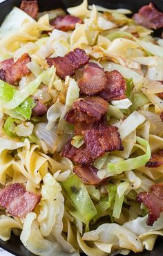 #Cabbage, Bacon and Buttered Noodles recipe.  Ohhhh my!
