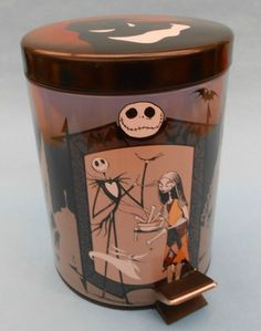 Nightmare Before Christmas Litho Trash Can Container Tim Burton Collectible | eBay