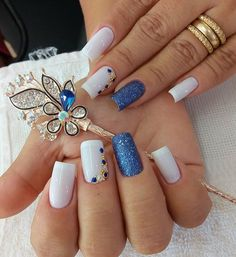 26 ideas nails design toe simple for 2019 Chic Nails, Trendy Nails, Cute Acrylic Nails, Glitter Nails, Finger Nail Art, Nail Decorations, Beautiful Nail Art, Blue Nails, Manicure And Pedicure
