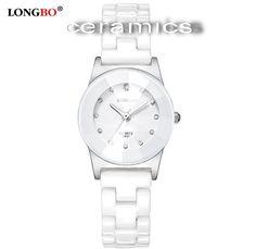 fc7985a47 Hight Grade White Ceramic Water Resistant Business Fashion Dress Women Man  WristWatches Lady Couple Gift Rhinestone