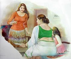 Mohan Manimala , Art, female figures, Beauty, curves Source by telwend Indian Women Painting, Indian Art Paintings, Ravivarma Paintings, Sexy Painting, Woman Painting, Indian Drawing, Girl Faces, Amy, Most Beautiful Indian Actress