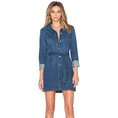 Sanctuary Denim Lex Shirtdress Dresses (3 680 UAH) ❤ liked on Polyvore featuring dresses, shirt dress, long denim shirt dress, button shirt dress, button dress e tie waist dress