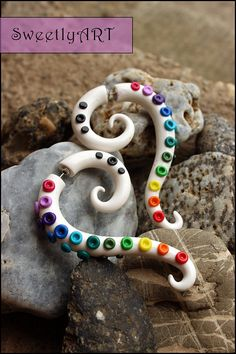 Fake gauge,clay gauge,octopus,tentacle,tribal,squid earrings,white,rainbow,colorful,spiral,trends 2014, summer festival -made to order