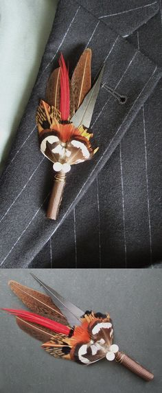 Lapel Pin Bridal Boutonniere £11.50 the Men in the Wedding Party. Great Accessory or the Suits to match the Bridal Partys Fascinators. Perfect for a Winter Wedding, Rustic Wedding, Barn or Cottage wedding Theme. #boutonniere #lapelpins #bestman #groom #fatherofthebride #winterwedding #barnwedding #cottagewedding #weddings #springwedding #affiliatelink #fatherofthegroom