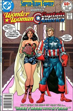 Wonder Woman and Captain America Over a dozen covers so far chronicling the romance of Wonder Woman and Captain America Super Team Family; The Lost Issues Comics Spiderman, Marvel Comics Superheroes, Hq Marvel, Wonder Woman Comic, Wonder Women, Marvel And Dc Crossover, Classic Comics, Comic Book Covers, Comic Books