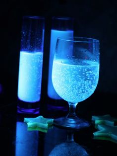 Tonic water glows under a black light! Add it to jello, jello shots, mixed drinks, or punch. Great addition to a Halloween party. Maybe even glow in the dark ice cubes?