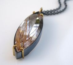 Rutilated Quartz Marquis Taisman Pendant No. 13 by FavreBijoux