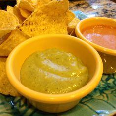 Fresh made salsas. Roasted Tomatillo Avocado & Creamy Hababero
