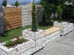 Gabion planters, and walls.