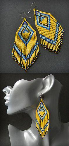 Large yellow seed bead earrings beadwork earrings by Anabel27shop