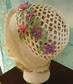 Crochet bohemian hat off white cotton summer HAT by natatusy, $25.00