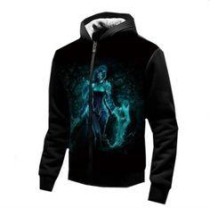 LOL League of Legends thick hoodies for winter hero Akali black sweatshirt