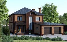Проект двухэтажного дома с гаражом на две машины 238-E Проекты домов для любого региона России