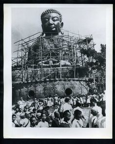 Construction site of Great Buddha Statue at Changhua, 1960.