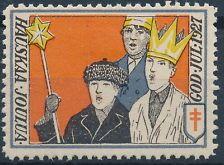 Finlandia Navidad Sello 1927  Vuoden 1927 joulumerkissä esiintyi ensimmäisen kerran kansainvälisen tuberkuloosinvastustamistyön tunnus punainen kaksoisristi. Merkin suunnitteli Väinö Blomstedt. (Hengitys ja Terveys Ry:n kokoelmista).