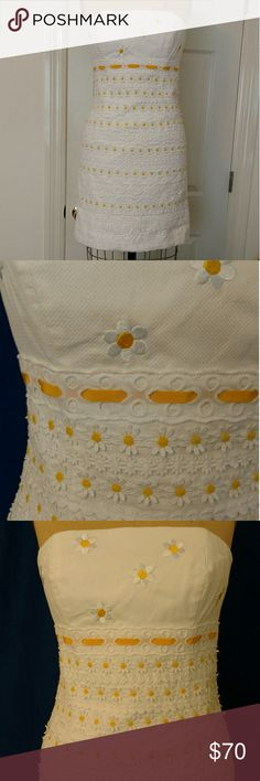 Lilly Pulitzer Strapless Dress Beautiful white eyelet and all-over embroidery and daisy details. This dress is clean and ready to go right out of the box. Lilly Pulitzer Dresses Strapless