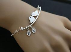 Initial BraceletBird on the branchLeaf by tyrahandmadejewelry