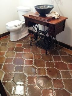 """Manganese Saltillo Mexican Terracotta in the """"Riviera Pattern"""" 