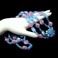 Vintage-2-Multi-Strand-Givre-Glass-Crystal-Beads-Necklace-Chunky-Blue-Pink