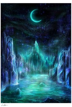 The Midnight Realms (digital wallpaper) - Louis Dyer Visionary Digital Artist Fantasy Art Landscapes, Fantasy Paintings, Fantasy Artwork, Magical Paintings, Oil Paintings, Fantasy Places, Fantasy World, Illustration Fantasy, Fantasy Background