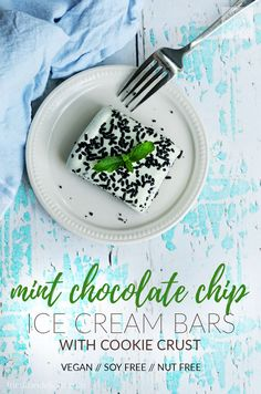 These Mint Chocolate Chip Ice Cream Bars are a no bake dessert that comes together in just minutes!  With just 4 main ingredients they'll be your favorite dessert for summer! (#vegan #nobake #icecream #summer)