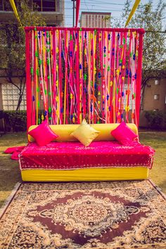 Looking for DIY bridal mehendi seating photobooth idea? Browse of latest bridal photos, lehenga & jewelry designs, decor ideas, etc. Desi Wedding Decor, Wedding Hall Decorations, Wedding Mandap, Backdrop Decorations, Wedding Ideas, Wedding Receptions, Kite Decoration, Wedding Table, Wedding Events