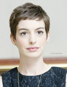 Pixie cut, short hairstyle, anne hathway pixie cut