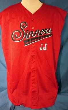 Sinners Gentleman's Club JJ Red Sleeveless Jersey Fabnit Team Gear 2XL Button Up #Fabnit #Jerseys
