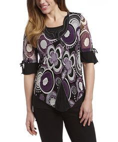 Another great find on #zulily! Black & Purple Floral Top #zulilyfinds