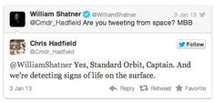 The Day William Shatner Tweeted at an Astronaut (and the Astronaut Replied)