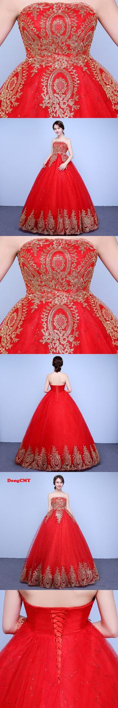 DongCMY  2017  Fashion long red color Ball Gown bandage strapless wedding dress vestido de noiva
