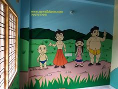 3d Wall Painting, Cartoon Painting, Texture Painting, Wall Paintings, Preschool Art, Preschool Classroom, School Cartoon, School Painting, Cartoon Wall