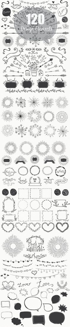 Hand Drawn Design Elements. Objects. $12.00