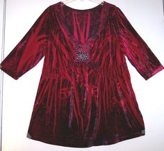 Oneworld Top 2X Stretch Velveteen Velour Crushed Velvet Shirt Baby Doll Tunic 2X #Oneworld #KnitTop #Casual
