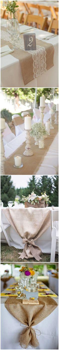 22 Rustic Burlap Wedding Table Runner Ideas You Will Love Glitter Wedding, Diy Wedding, Rustic Wedding, Wedding Ideas, Trendy Wedding, Wedding Table Flowers, Wedding Reception Decorations, Table Wedding, Wedding Decor